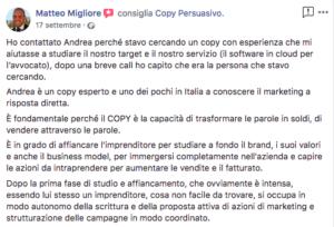 l'opinione di Matteo Migliore su Andrea LIsi e Copy Persuasivo™