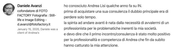 Testimonianza Copy Persuasivo® Daniele Avanzi